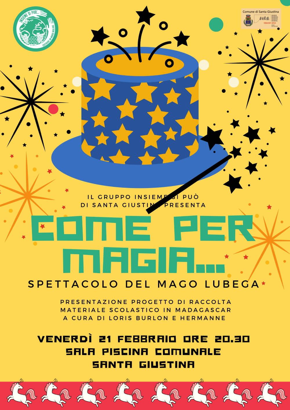 """Spettacolo """"Come per magia..."""" del mago Lubega a Santa Giustina"""