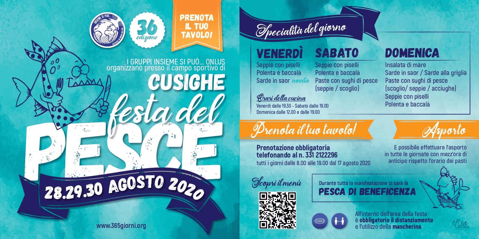 Pieghevole Festa del Pesce Cusighe ISP 2020